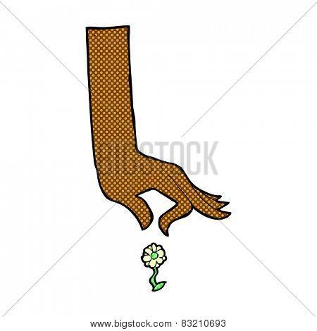 retro comic book style cartoon hand picking flower