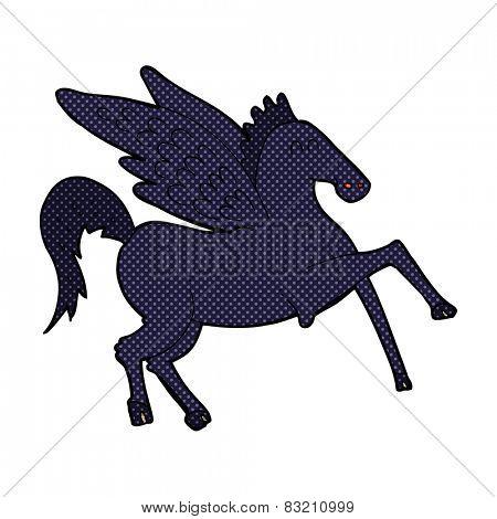 retro comic book style cartoon magic flying horse