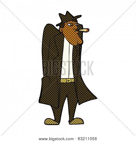 retro comic book style cartoon man in hat and trench coat