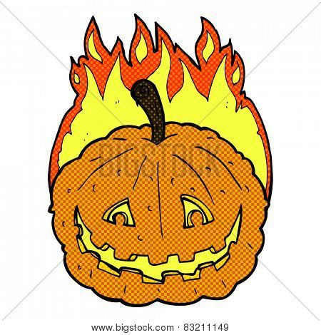 retro comic book style cartoon grinning pumpkin