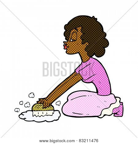 retro comic book style cartoon woman scrubbing floor