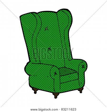 retro comic book style cartoon old armchair