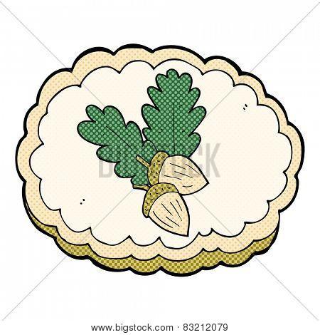 retro comic book style cartoon acorn symbol