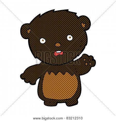retro comic book style cartoon worried black bear