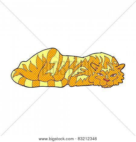 retro comic book style cartoon resting tiger