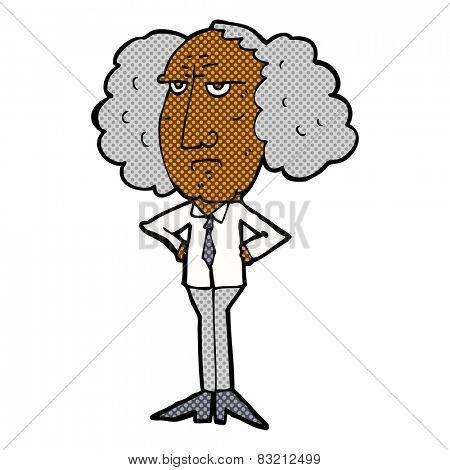 retro comic book style cartoon big hair lecturer man