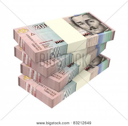 Colombian pesos isolated on white background. Computer generated 3D photo rendering.