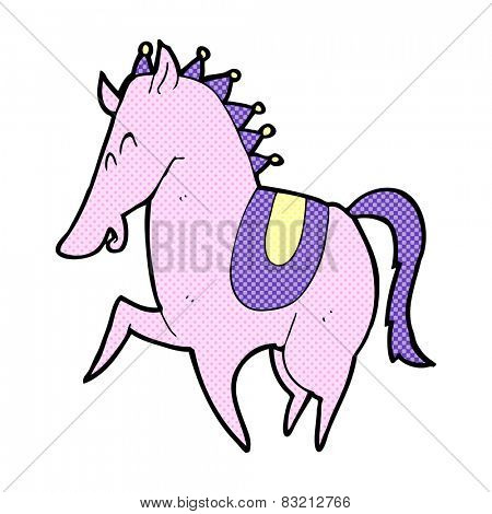 retro comic book style cartoon prancing horse