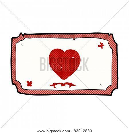 retro comic book style cartoon love heart frame