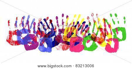 Handprints Multicolor Border
