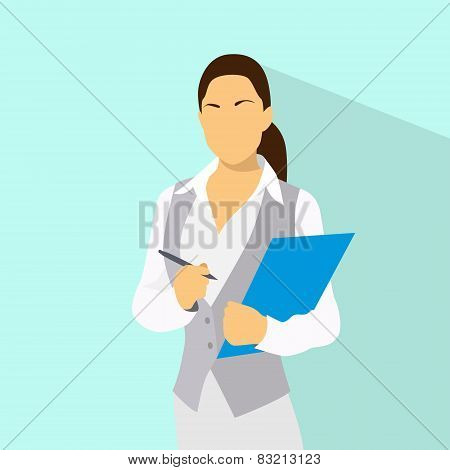 Businesswoman with document clipboard and pen wear vest flat icon