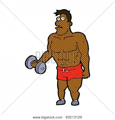 retro comic book style cartoon man lifting weights