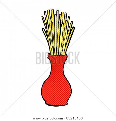 retro comic book style cartoon reeds in vase