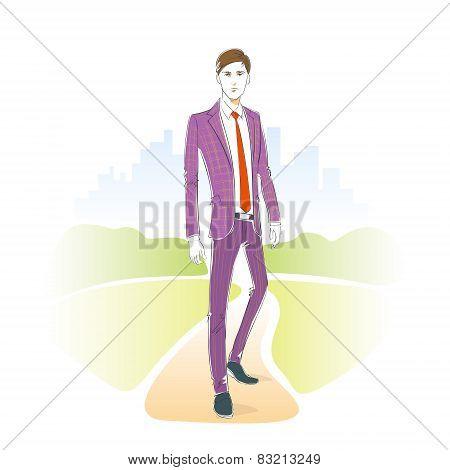 Fashion man park outdoor, male model wear suit vector