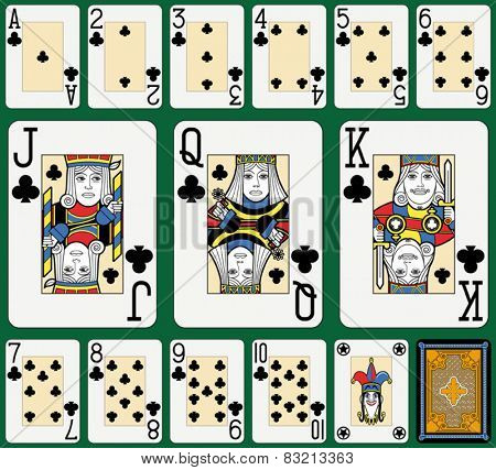 Playing cards, clubs suite, joker and back. Faces double sized. Green background.