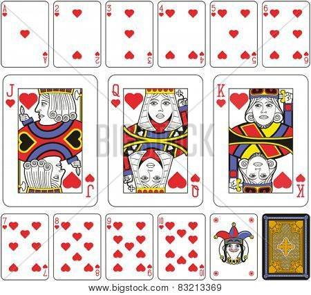 Playing cards, hearts suite, joker and back. Faces double sized. Green background.