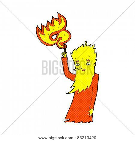 retro comic book style cartoon fire spirit