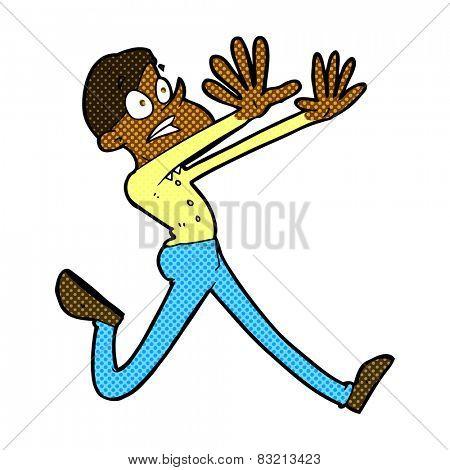 retro comic book style cartoon man running away