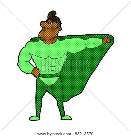funny retro comic book style cartoon superhero