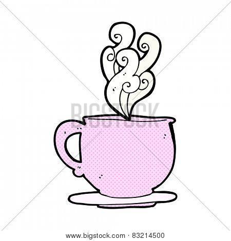 retro comic book style cartoon tea cup with sugar cubes