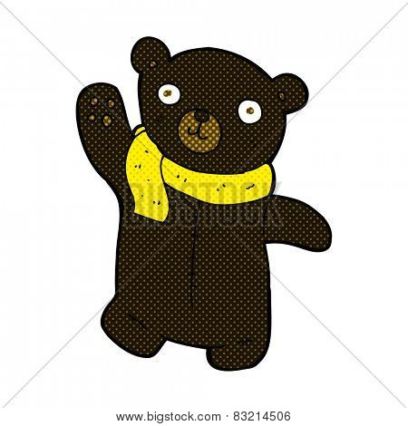 cute retro comic book style cartoon black teddy bear