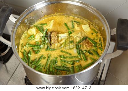 Indonesian famous Lodeh or vegetable in coconut milk soup