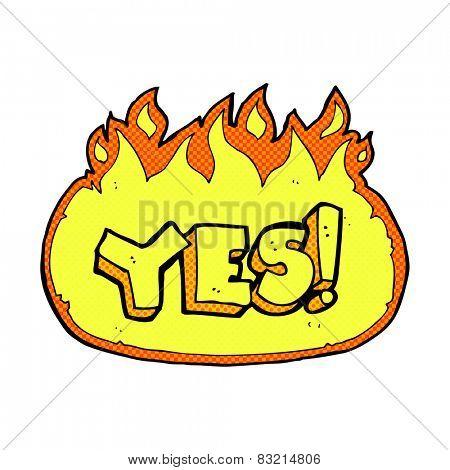 retro comic book style cartoon flaming yes symbol