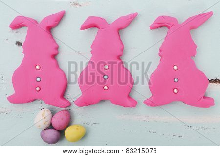 Happy Easter Pink Confectionary Sugar Fondant Cookie Bunnies On Pale Aqua Blue Shabby Chic Vintage S