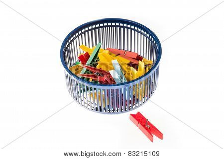 Mixed Clothespins With Plastic Basket