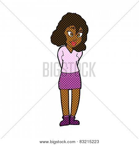 retro comic book style cartoon confused woman
