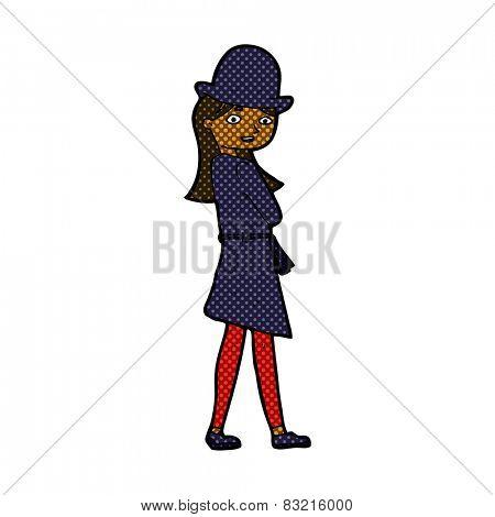 retro comic book style cartoon female spy