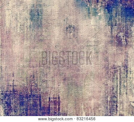 Grunge aging texture, art background. With different color patterns: brown; gray; blue; purple (violet)