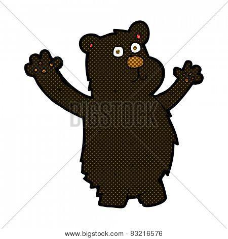 retro comic book style cartoon funny black bear