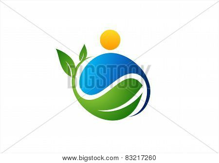 wellness nature plant people logo,water drop plant symbol icon design vector