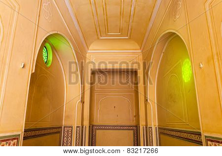 Jaipur, India - December 30, 2014: Interior Mughal Architectural Details Of Nahargarh Fort