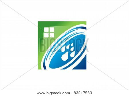 home realty water supply abstract logo real estate,house, square nature health solution
