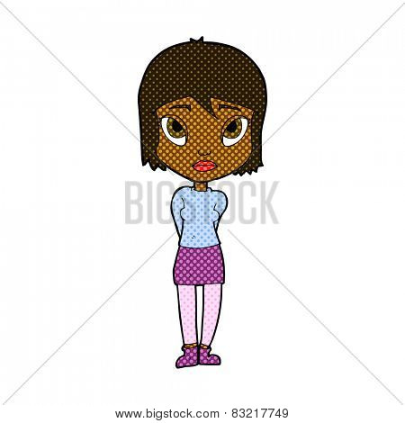 retro comic book style cartoon shy girl