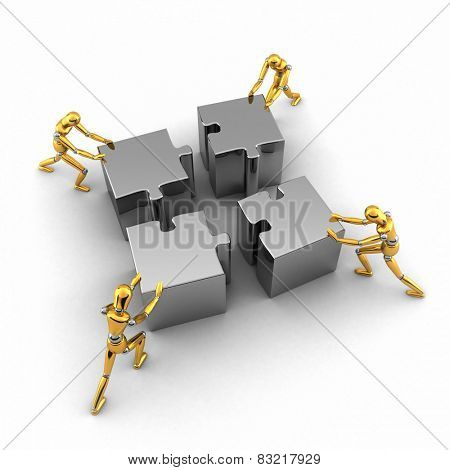 Teamwork concept with four golden mannequins pushing puzzle pieces in place