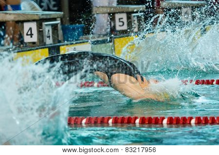Milan - December  23: S. Cartapani (italy)  Performing Freestyle  In  Swimming Meeting Brema Cup On