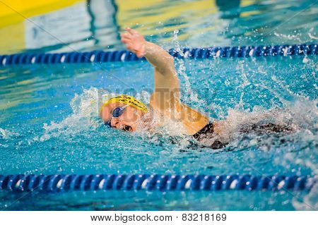 Milan - December  23: S. Negri  (italy)  Performing Freestyle  In  Swimming Meeting Brema Cup On Dec