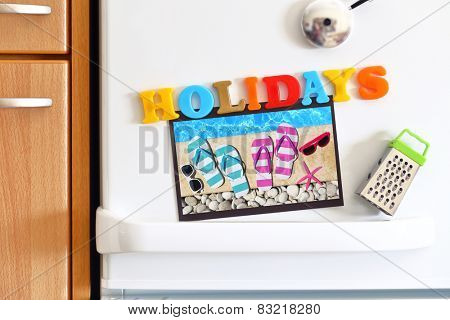 Refrigerators door with colorful text Holidays and Photo By The Pool