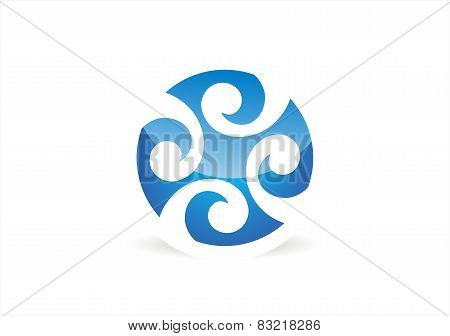 circle water wave logo,abstract water supply symbol,globe wind icon vector design
