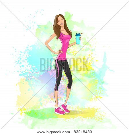 Sport woman hold shaker drink fitness trainer, hot sexy girl bodybuilder athletic muscle over colorf