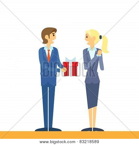Businessman present gift box business woman flat