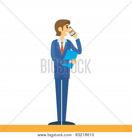businessman talking on mobile phone call, using cellphone