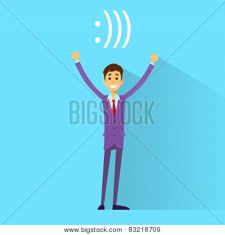 businessman happy smile excited hands up, with smiley bracket web internet chat sign