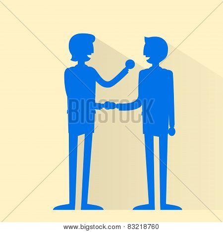 Business people handshake silhouette, businessmen hand shake flat icon