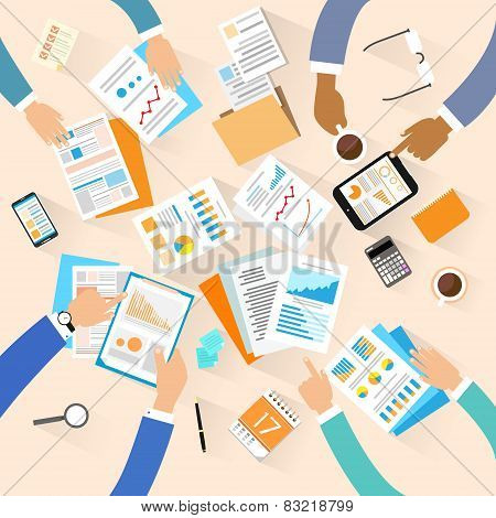 Business people workplace top angle above view creative team working sitting at office desk