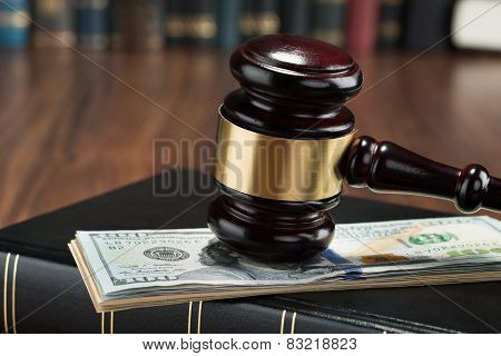 Gavel With American Banknote And Book