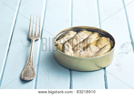can of sprats on kitchen table